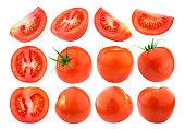 トマトは分離で分離ホワイト バック グラウンドです。コレクションです。単一