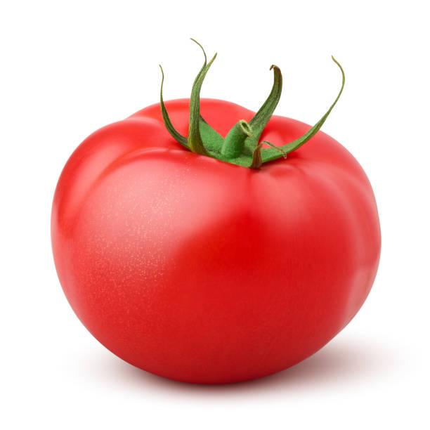 ホワイト背景に分離されたトマト, クリッピングパス, フィールドの完全な深さ - トマト ストックフォトと画像