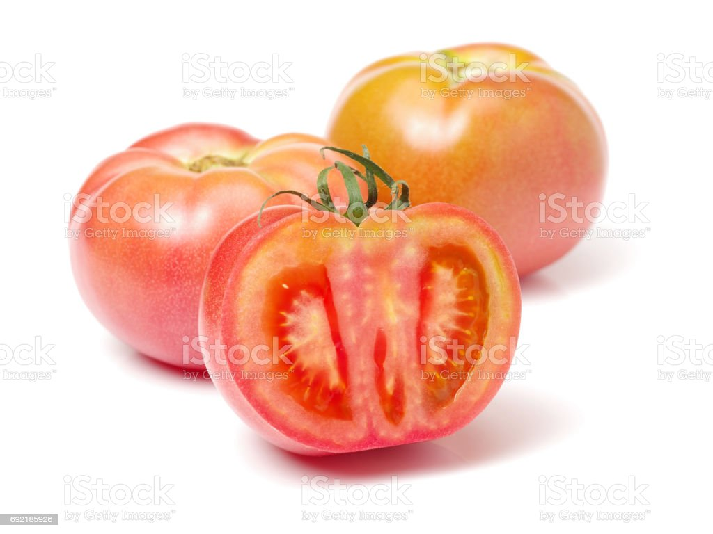 Tomato isolated on white. With clipping pat stock photo