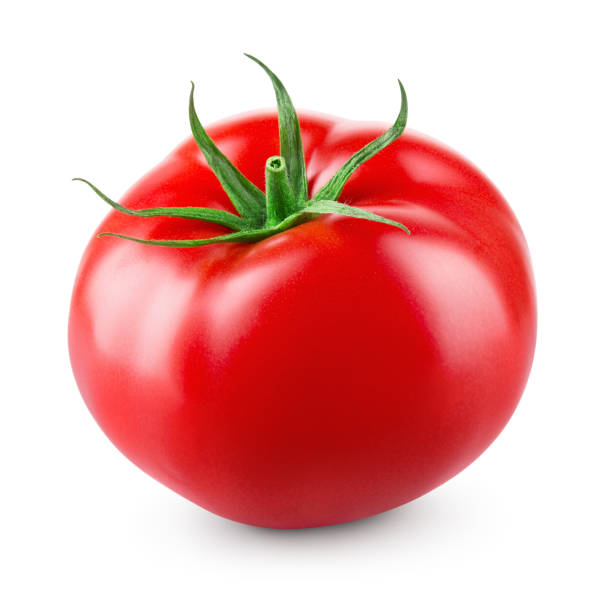 Tomato isolated. Tomato on white background. With clipping path. Full depth of field. stock photo