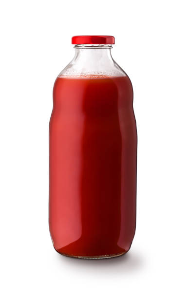 objeto do frasco do suco de tomate para marcar isolado no fundo branco - squeeze bottle - fotografias e filmes do acervo