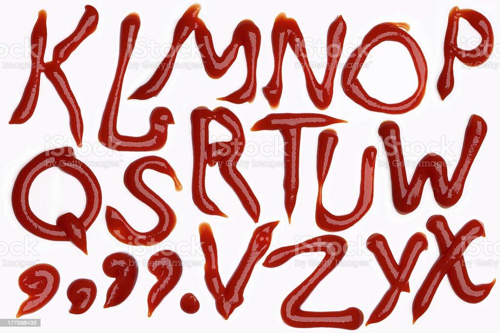 tomato ketchup alphabet stock photo