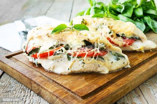 istock Tomato, mozzarella and basil stuffed chicken breasts 503544484