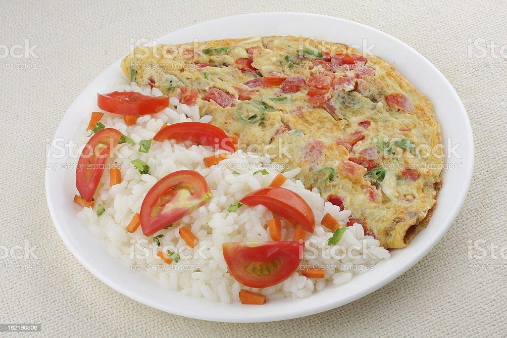 Tomato omelet with white rice. stock photo