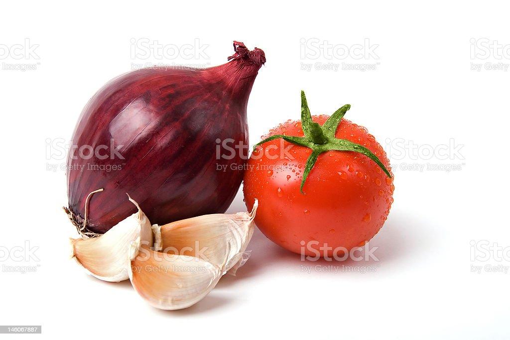 tomato onion and garlic royalty-free stock photo