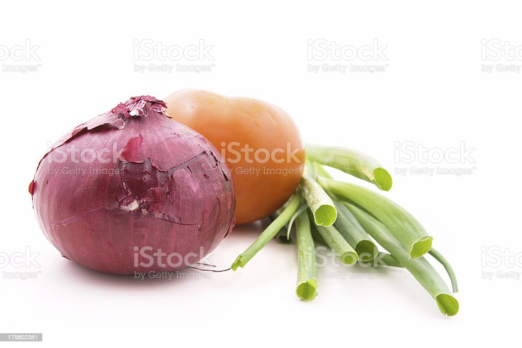 Tomato, onion and greens royalty-free stock photo