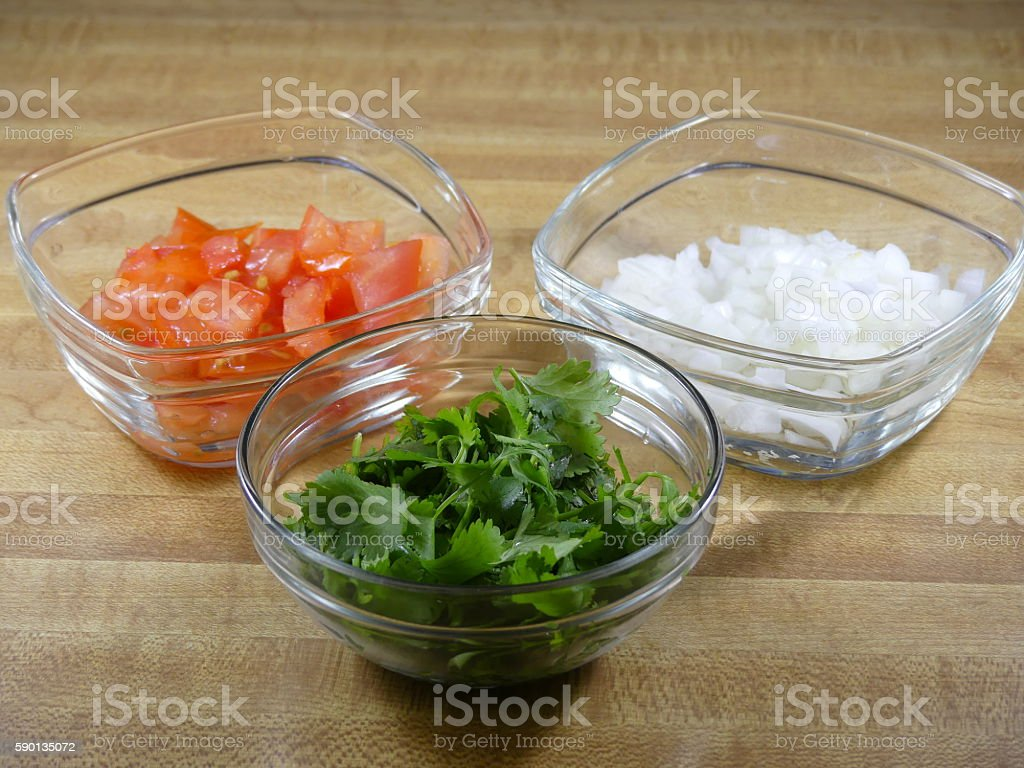 Tomato Onion Cilantro stock photo