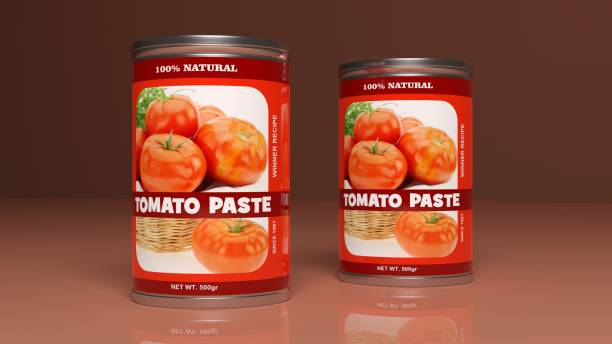 tomato paste metallic cans. 3d illustration - tomato can stock photos and pictures