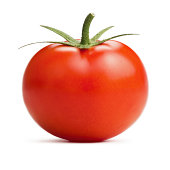 Tomato front view on white background. Deep focus.Related pictures: