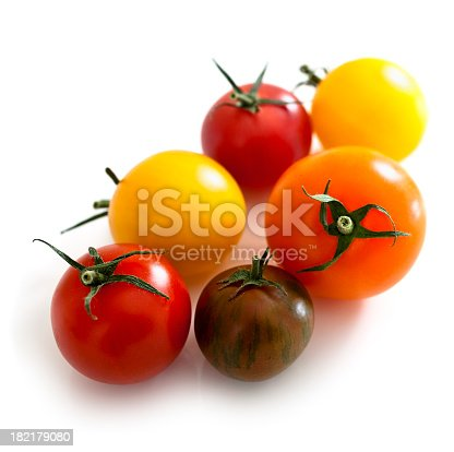 Various tomato varieties isolated on white. Selective focus.SEE MY PORTFOLIO FOR MANY MORE VARIATIONS OF THIS SHOT.