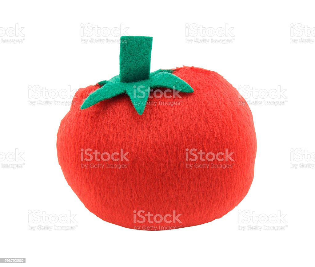 tomato pillow isolated on white background stock photo