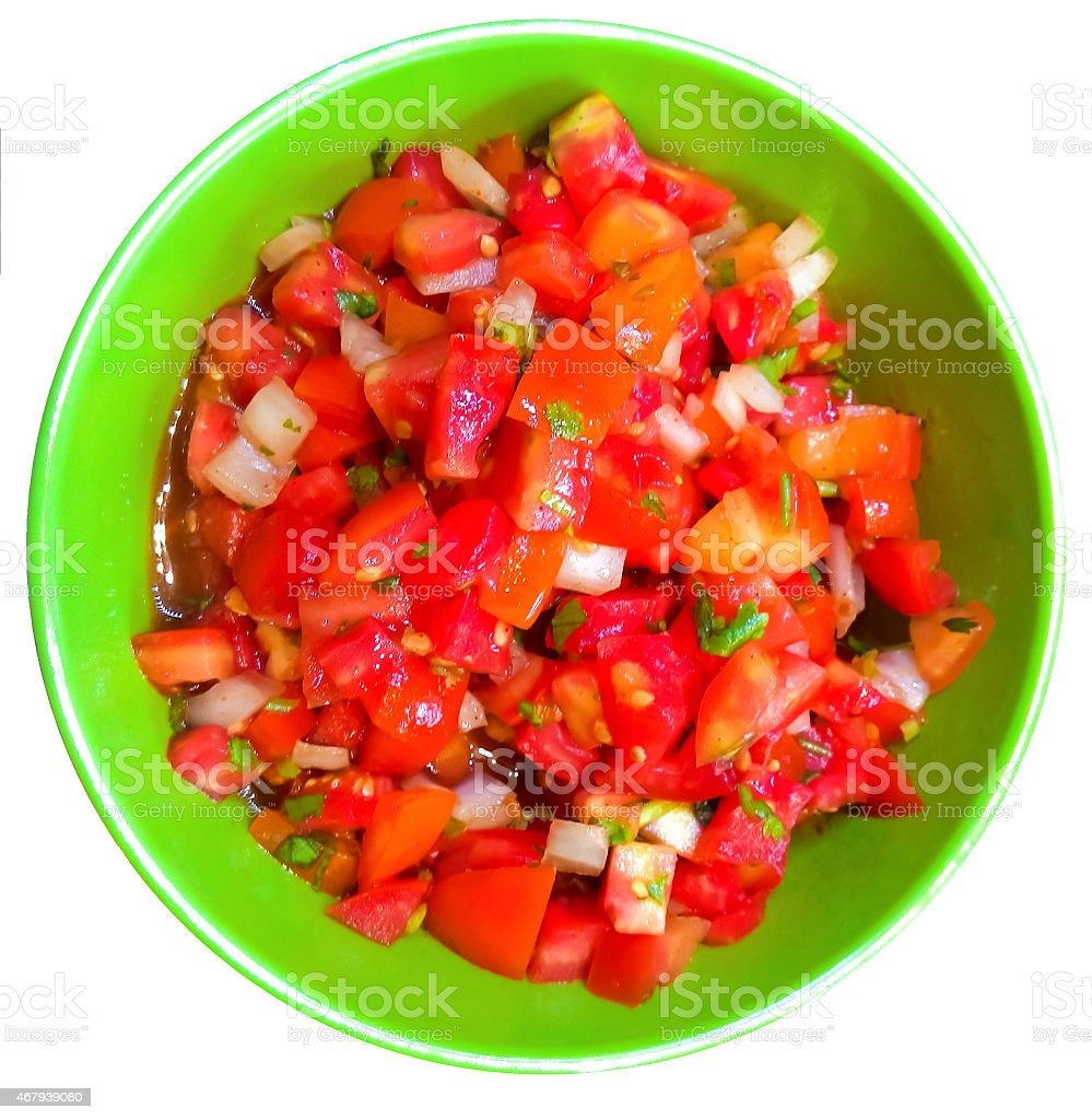 Tomato Salad isolated on white stock photo