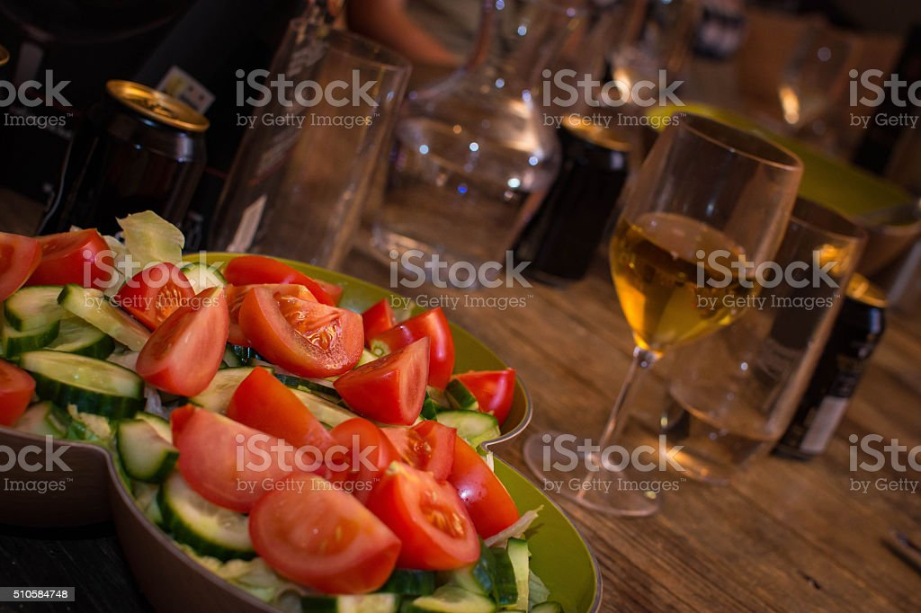 Tomato Salad Tomato salad prepared for a company dinner. Chopped Food Stock Photo