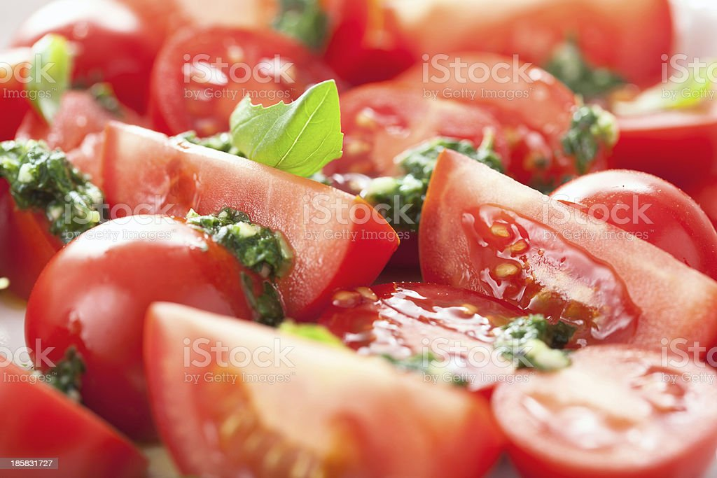tomato salad with basil dressing royalty-free stock photo