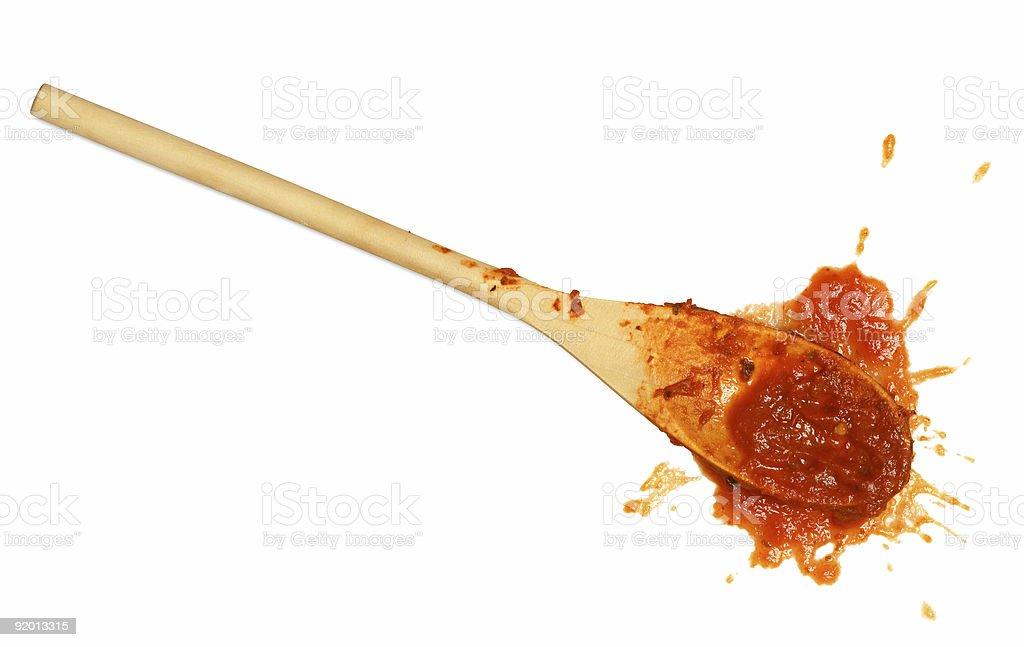 Tomato sauce spoon stock photo