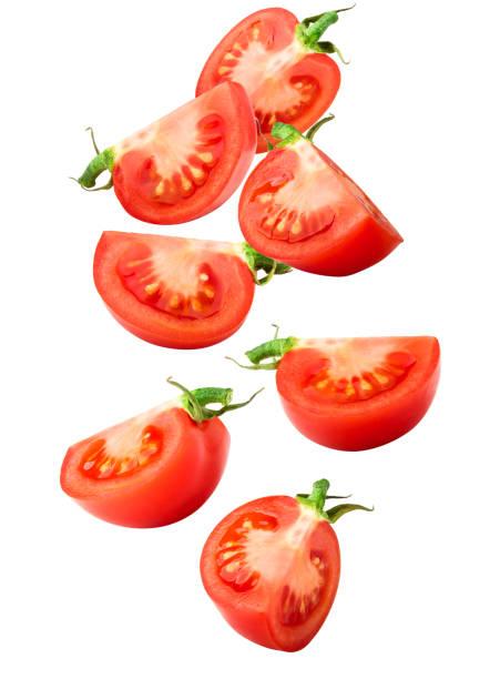 tomatenscheibe, isoliert auf weißem hintergrund, clipping-pfad voller schärfentiefe - 25 cent stück stock-fotos und bilder