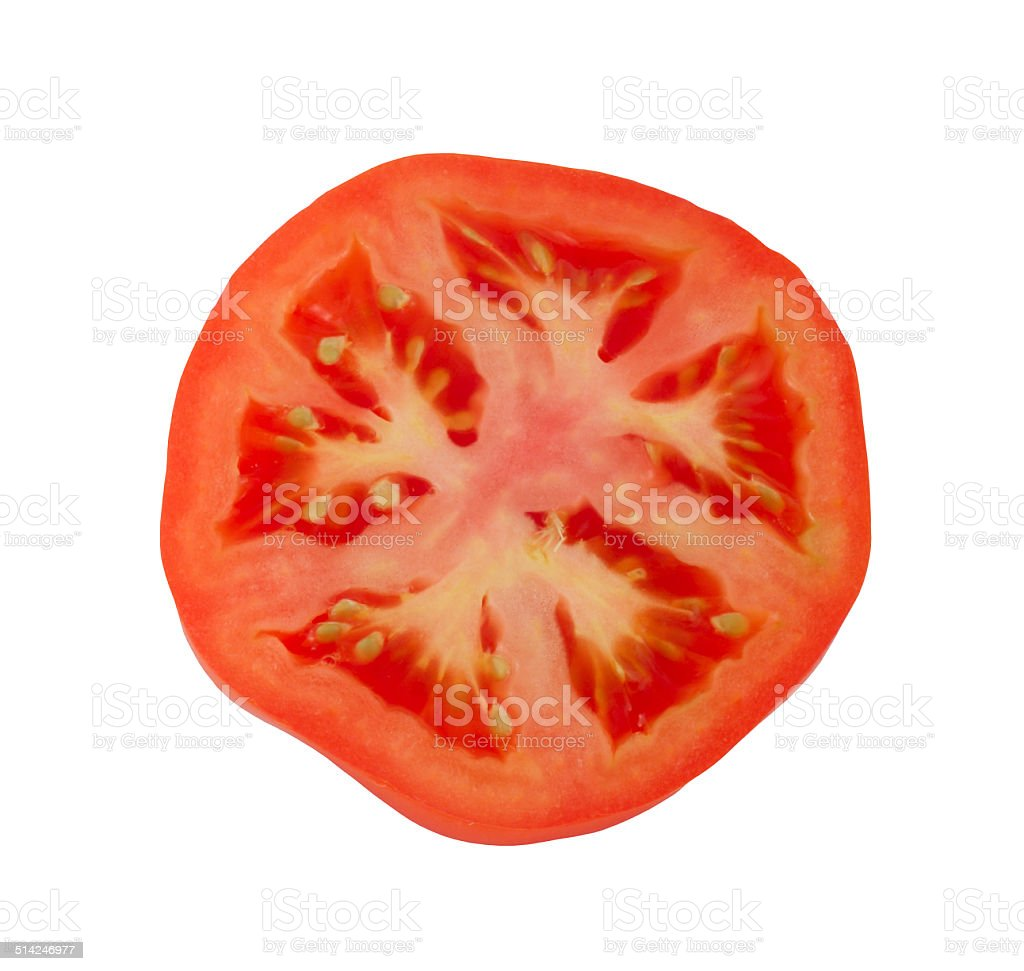 Tomato slice isolated on white stock photo