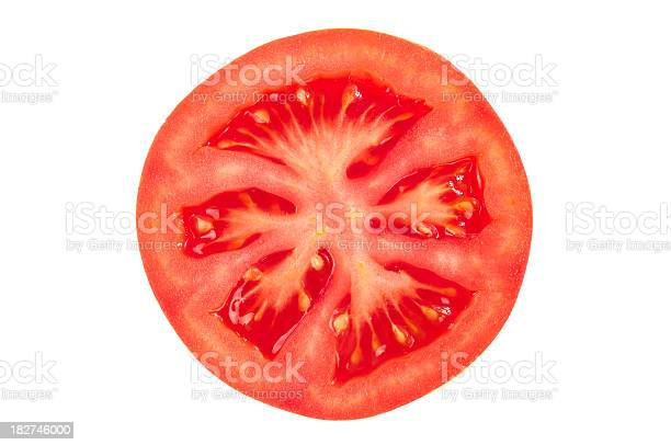 Fresh and ripe juicy tomato slice on white background