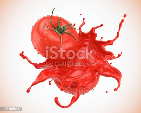 istock Tomato slice with juice splash or red Ketchup sauce. 1064558782