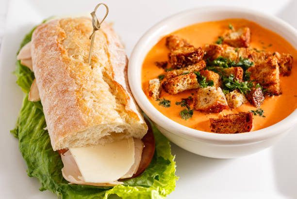 tomato soup and sandwich - sandwich stock pictures, royalty-free photos & images