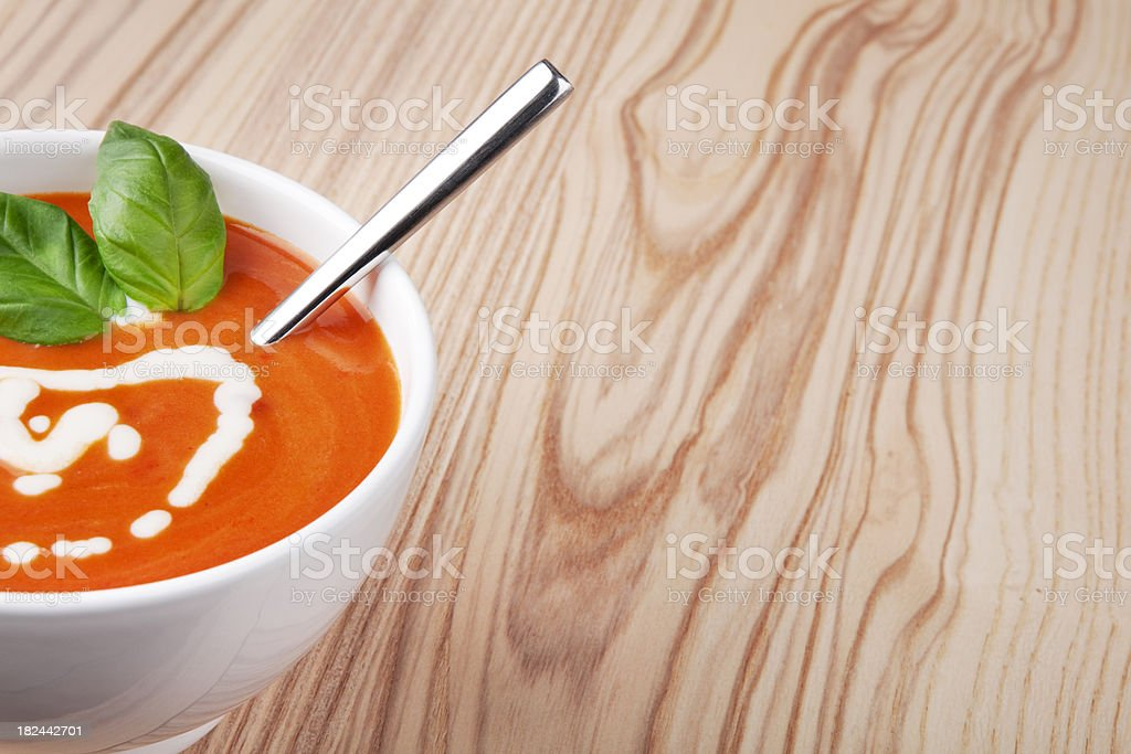 Tomato soup in a bowl royalty-free stock photo