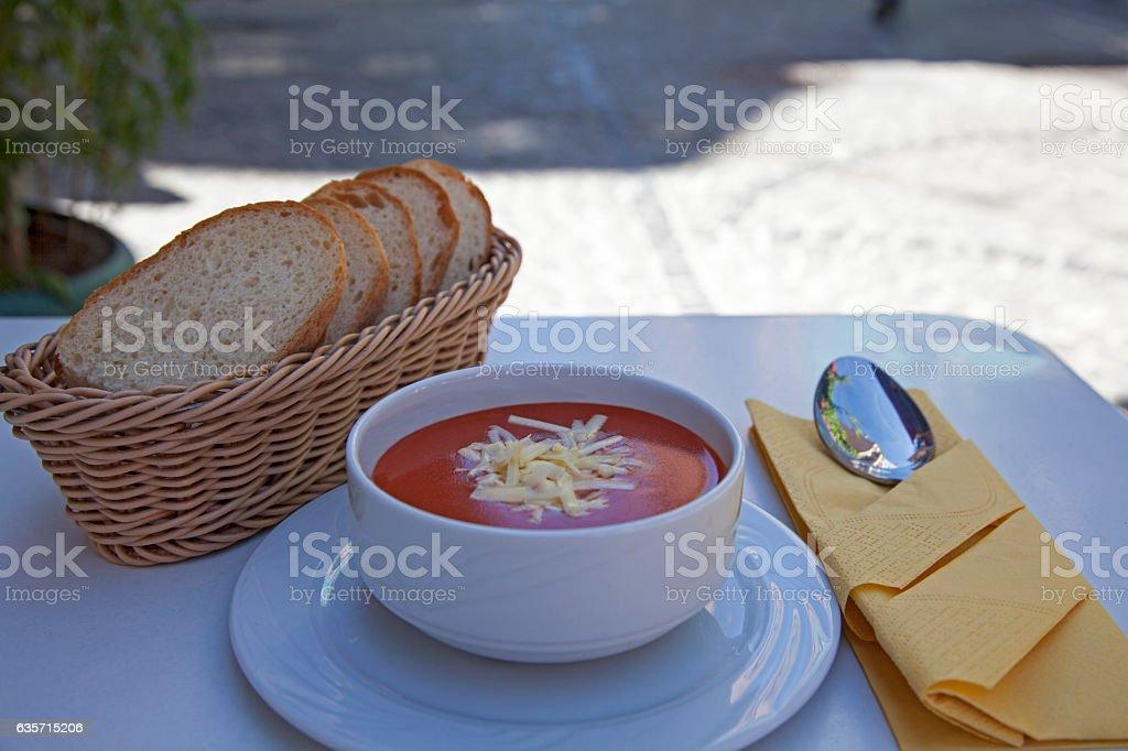 tomato soup on ceramic white bowl royalty-free stock photo