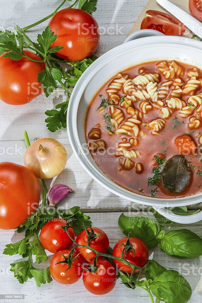 Tomato soup prepared with fresh tomatoes royalty-free stock photo
