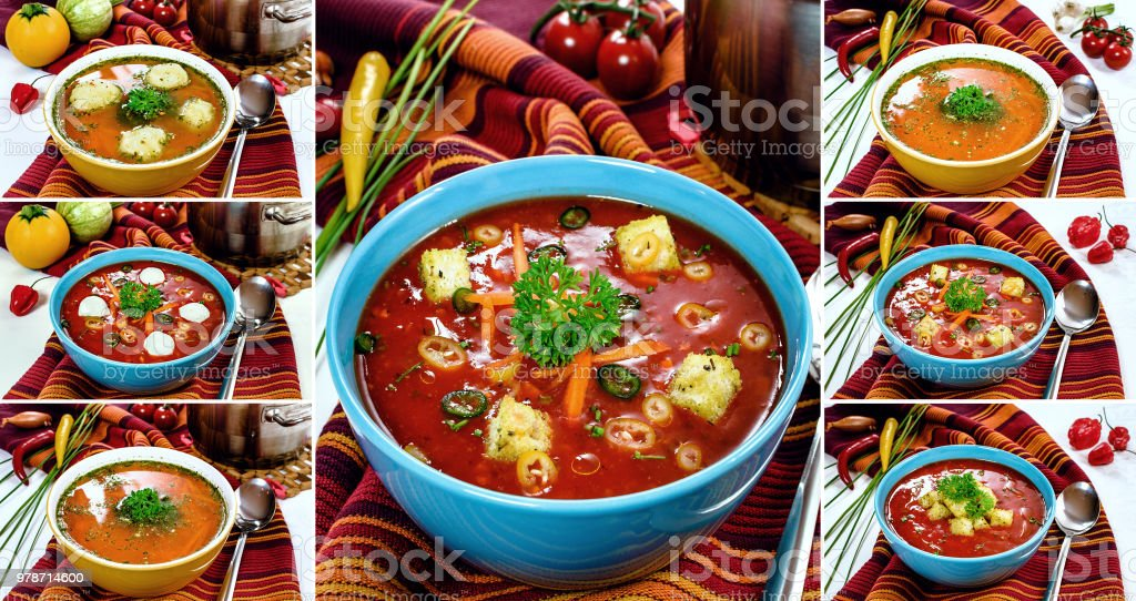 Tomato soup, Spicy chili hot tomato soup, Vegetable soup with...