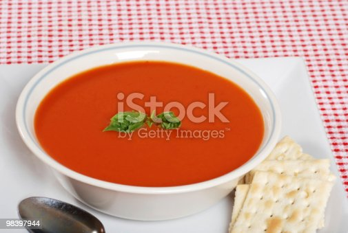 Tomato Soup With Basil And Crackers Stock Photo & More Pictures of Basil