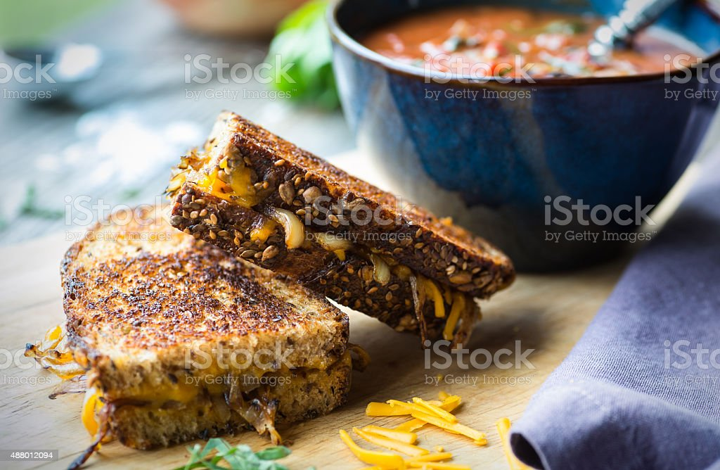 Tomato Soup with Grilled Cheese stock photo
