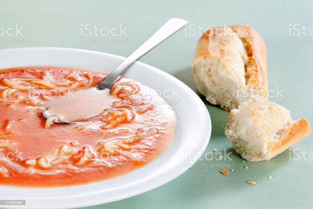 Tomato soup with noodles royalty-free stock photo