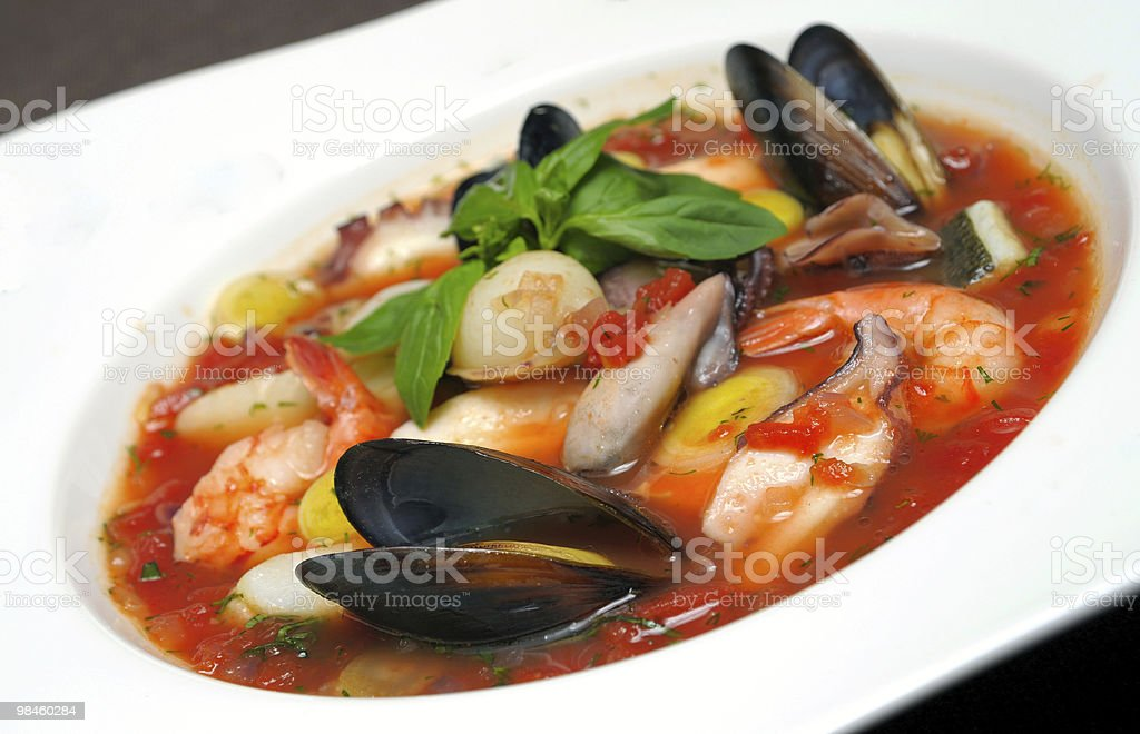 Tomato soup with seafood and fish royalty-free stock photo