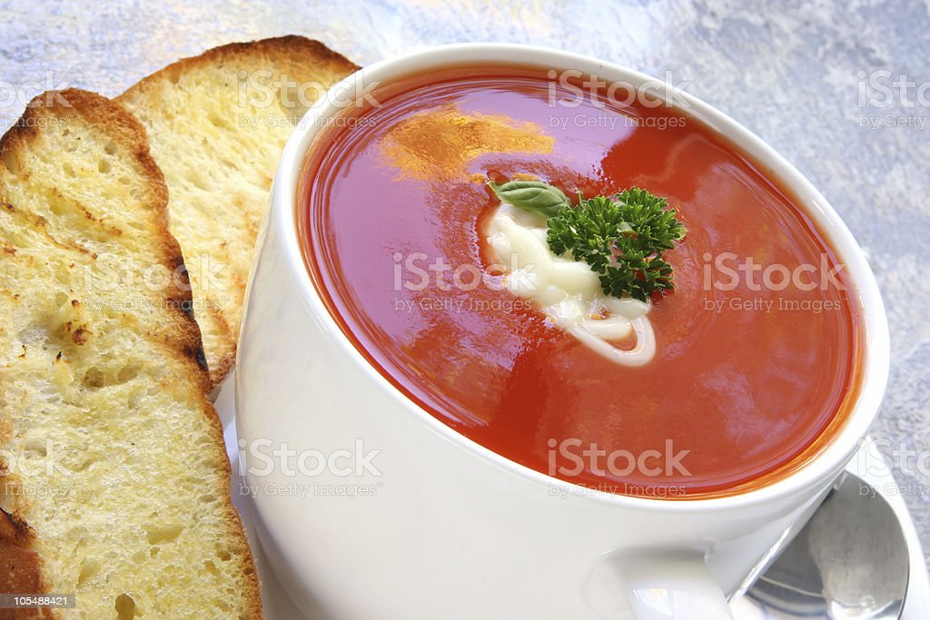 Tomato Soup with Toasted Turkish Bread royalty-free stock photo