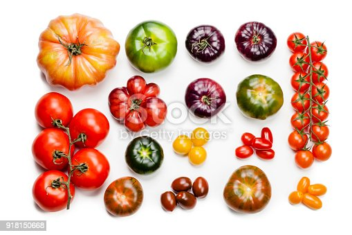 Collection of large variety of multi colored ripe tomatoes shot from above on white background. DSRL studio photo taken with Canon EOS 5D Mk II and Canon EF 100mm f/2.8L Macro IS USM