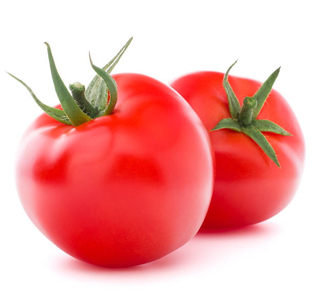 Tomato vegetable isolated on white background cutout stock photo