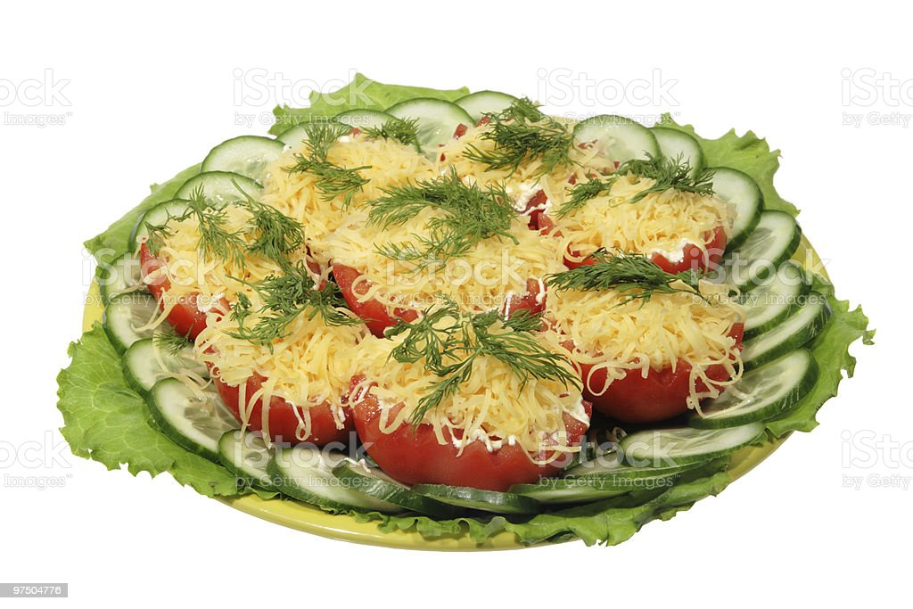 Tomato with cheese and fennel royalty-free stock photo