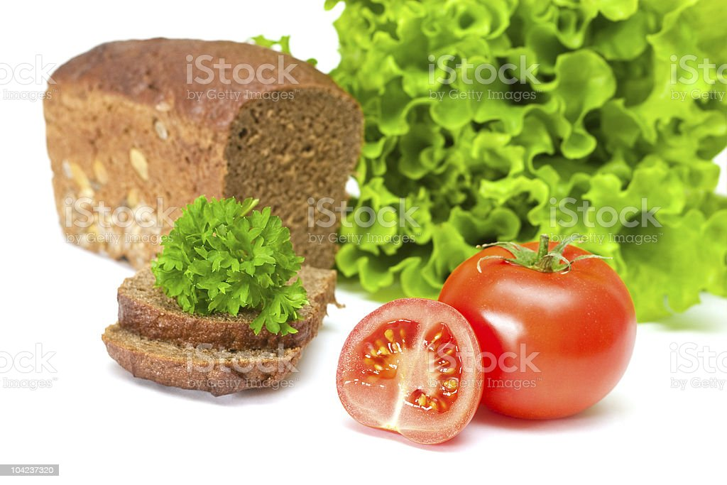 Tomato with salad and bread royalty-free stock photo