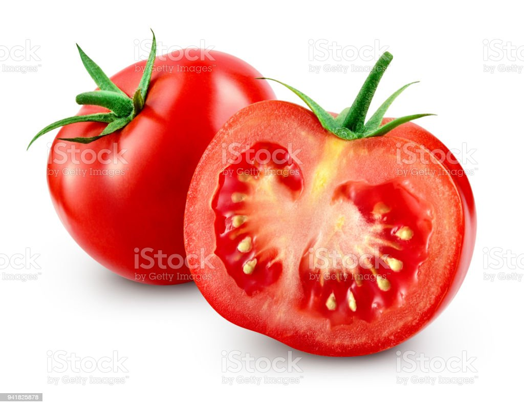 Tomato with slice isolated. With clipping path. - fotografia de stock