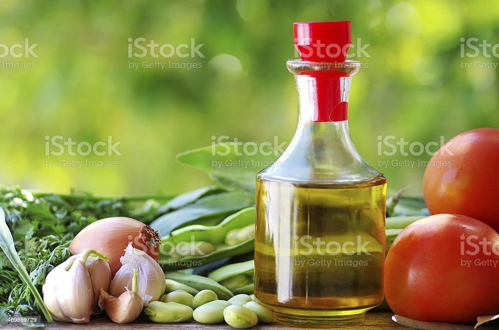 Tomato,beans, oliveoil and ingredients stock photo