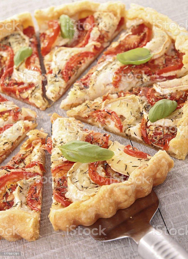 tomato,cheese and basil tart/pizza royalty-free stock photo