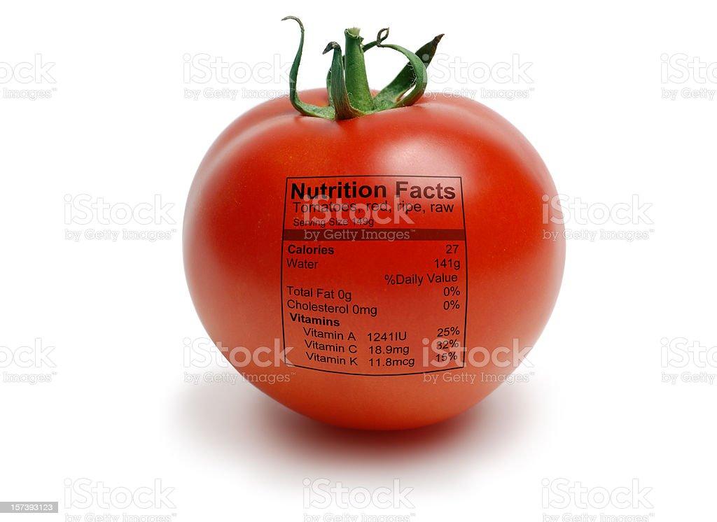 Tomatoe with nutriton facts stock photo