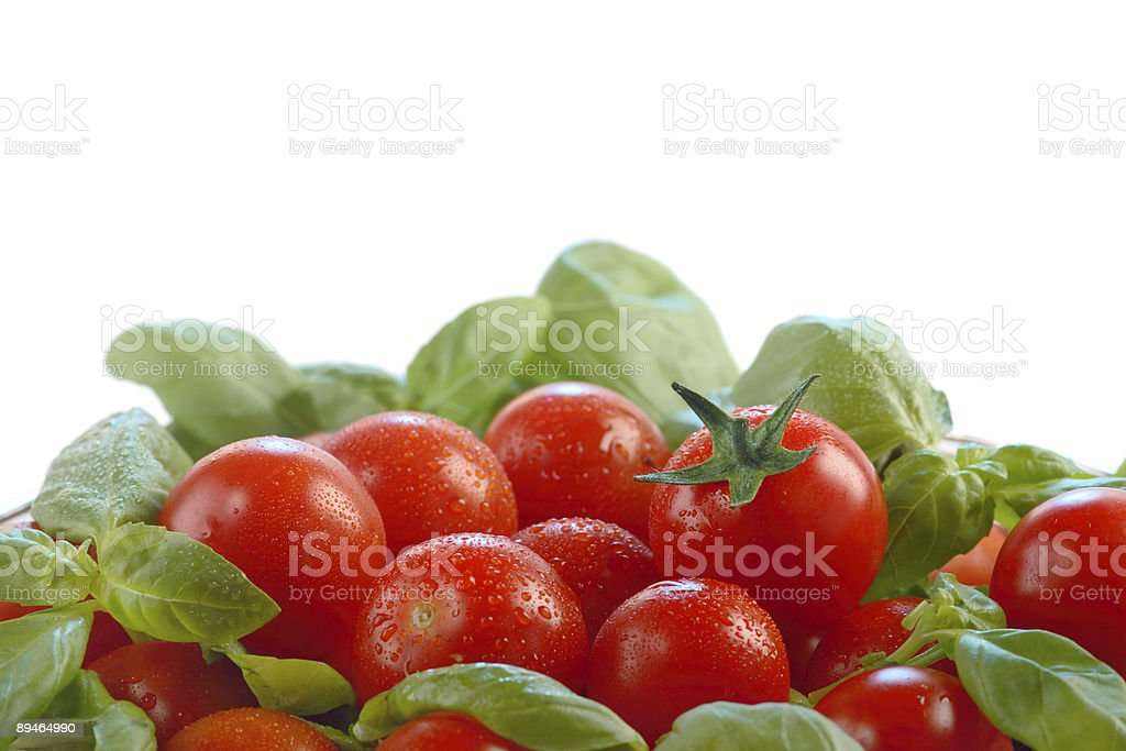 Tomatoes and basil royalty-free stock photo