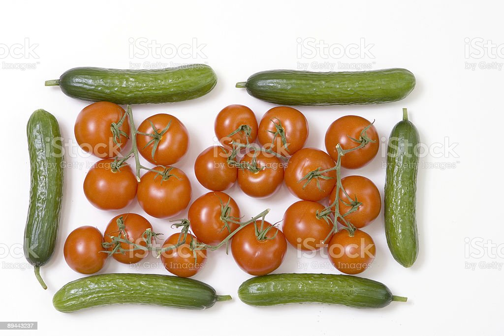 tomatoes and cucumbers royalty-free stock photo