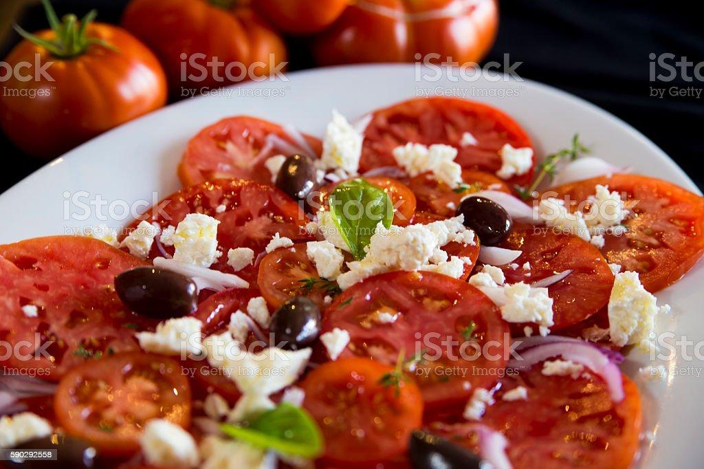 Tomatoes and feta salad royaltyfri bildbanksbilder