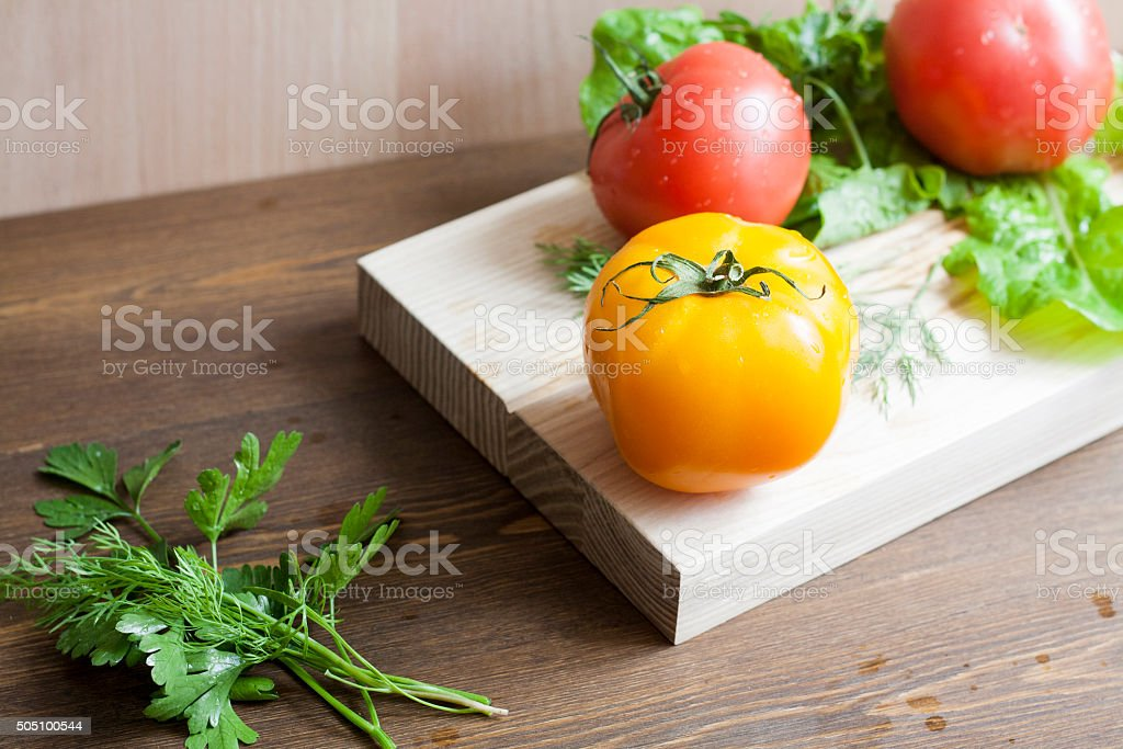 Tomatoes and herbs royalty-free stock photo