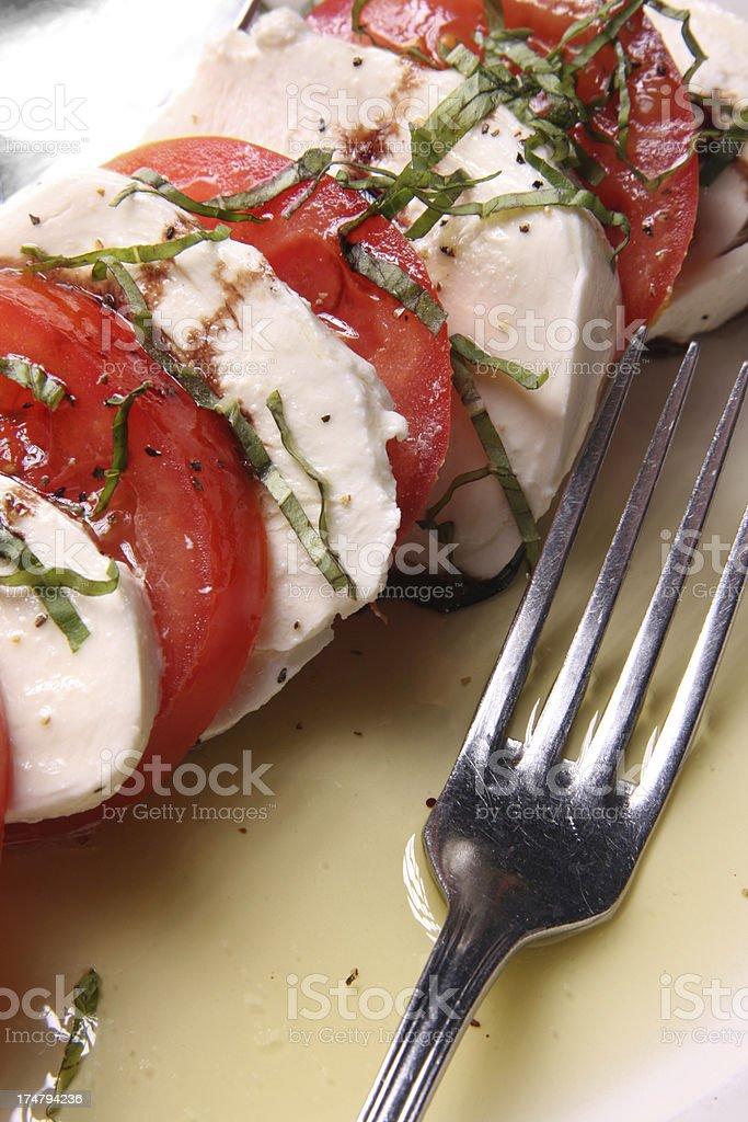 Tomatoes and Mozzarella appetizer close stock photo