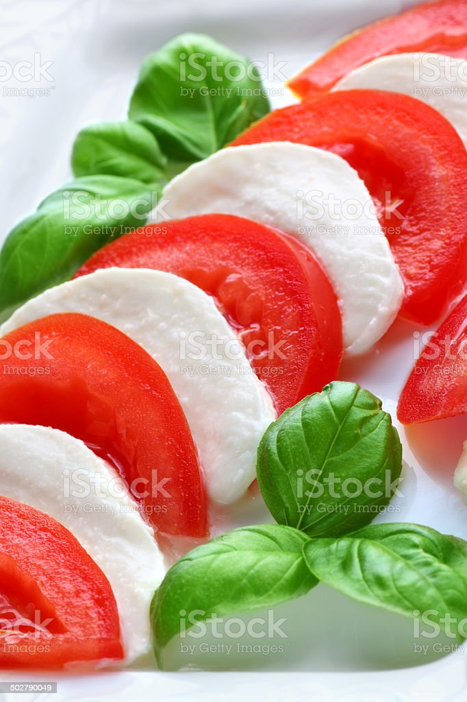 Tomatoes and mozzarella stock photo