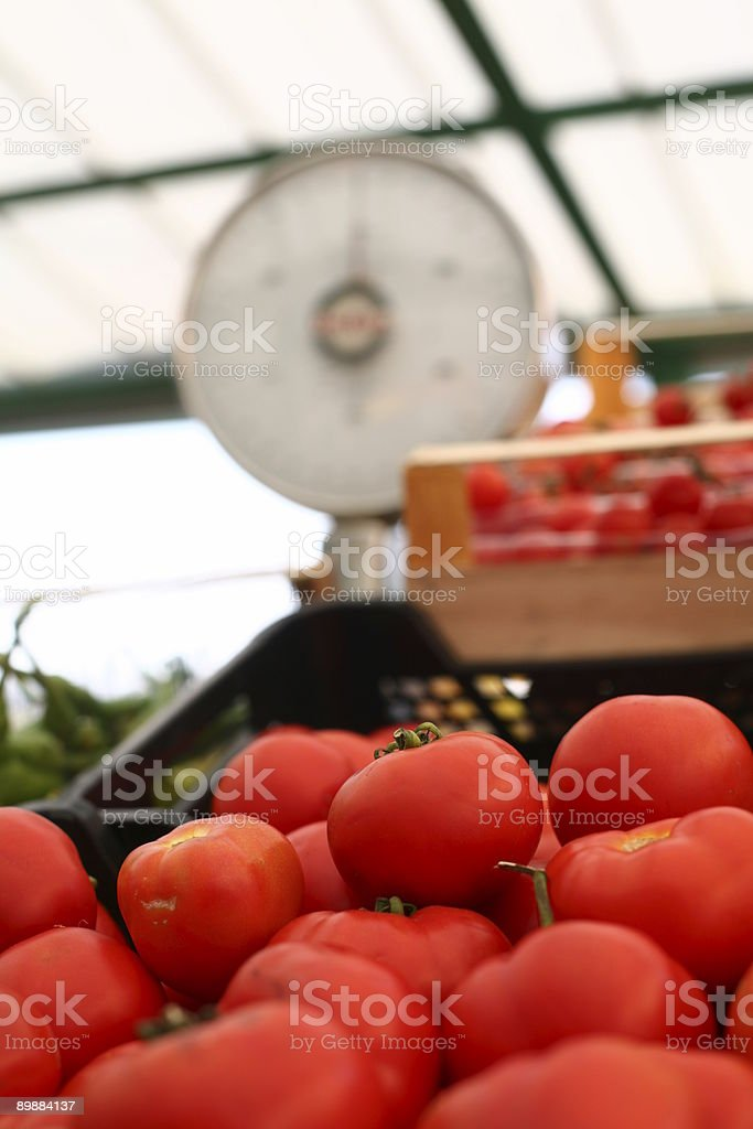 Tomatoes and scale at a farmers market royalty-free stock photo