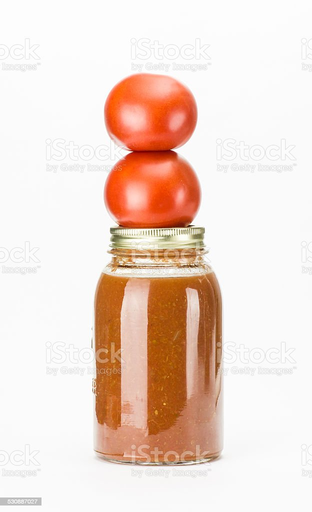 Tomatoes and tomato sauce on white stock photo