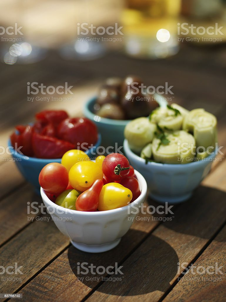 Tomatoes, Artichoke Hearts, Onions and Peppers royalty-free stock photo
